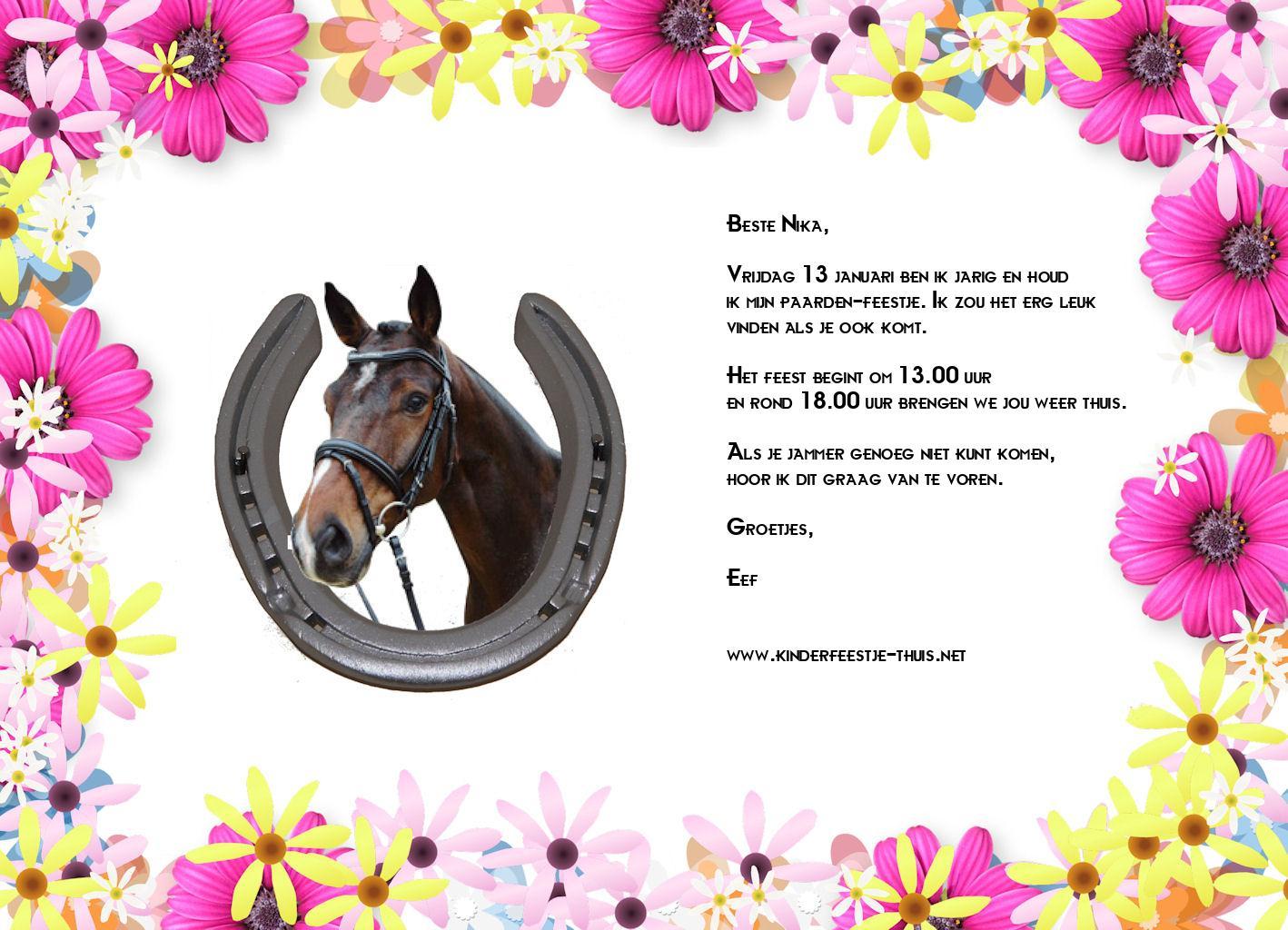 Uitzonderlijk Uitnodiging Paarden Feestje 1 - Kinderfeestje Thuis &FH02