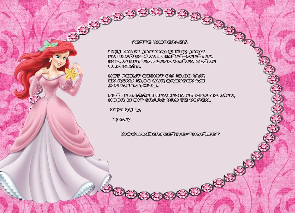 Bekend Uitnodiging Prinsessen feestje 1 - Kinderfeestje Thuis #BX73