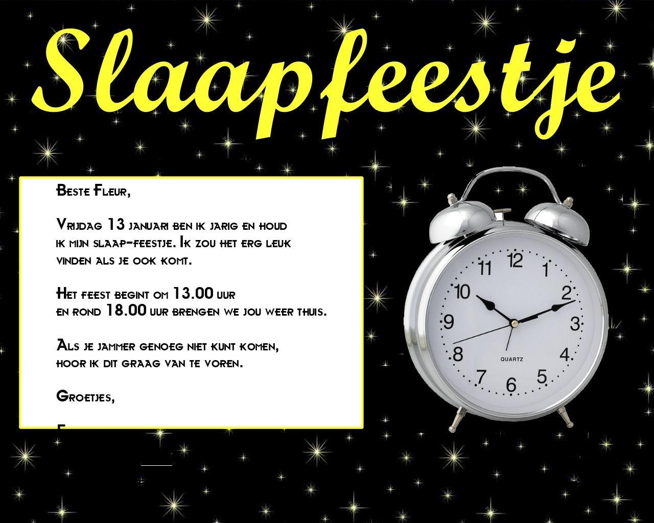 Uitnodiging Slaap Feest